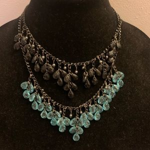 2 necklaces - blue beads and black beads